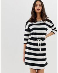ONLY May Stripe Drawstring Dress - Black