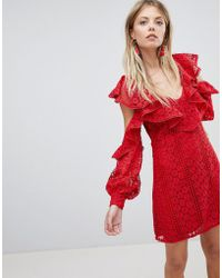French Connection - Lace Frill Mini Dress - Lyst