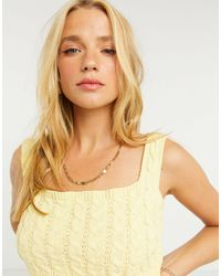UNIQUE21 Cable Knitted Bralet - Yellow