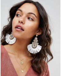 ASOS - Design Embroidered Tassel Earrings - Lyst