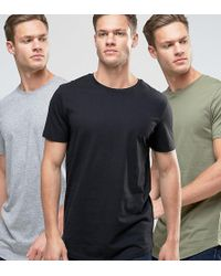 Jack & Jones - Originals Longline Curved Hem T-shirt 3 Pack Save - Lyst