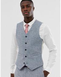 ASOS Schmale Anzugweste aus Harris-Tweed mit 100% Wolle in Grau