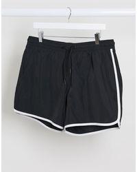 Weekday Tan Runner Swim Shorts - Black