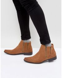 ASOS - Asos Chelsea Boots With Zip Detail In Tan Faux Suede - Lyst