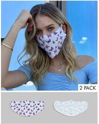 ASOS – Gesichtsmasken im 2er-Pack mit Schmetterlings- und Himmeldesign bedruckt - Mehrfarbig