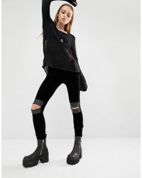 Tripp Nyc - Velvet Leggings With Cut Out Knees - Lyst