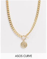 ASOS Asos Design Curve T Bar Necklace With Coin - Metallic