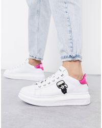Karl Lagerfeld Белые Кожаные Кроссовки На Платформе С Розовой Отделкой -белый