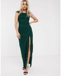 AX Paris Lange Satijnen Bardot-jurk Met Split - Groen