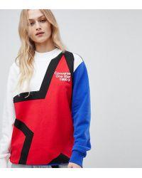 6b27b2c16e1d Converse - Exclusive One Star Boyfriend Fit Sweatshirt With Star Logo - Lyst
