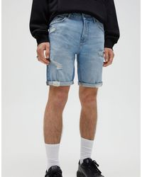 Pull&Bear Slim Fit Denim Shorts With Rips - Blue