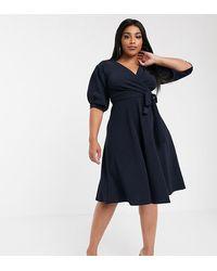 Boohoo Wrap Midi Dress With Puff Sleeve In Navy - Blue