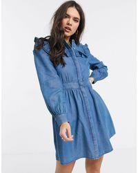 Warehouse Ruffle Bib Dress Blue