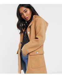 ASOS Asos Design Petite Hooded Slim Coat - Natural