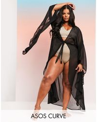 ASOS ASOS DESIGN Curve – SWIM GLAM – Maxi-Strand-Kimono mit akzentuierten Ärmeln - Schwarz