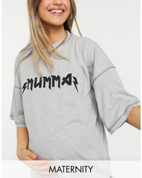 """Missguided T-Shirt grigia con scritta """"mumma"""" - Grigio"""