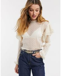 River Island Frill Shoulder Lace Blouse - Natural