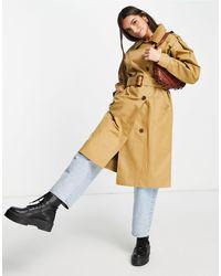 Miss Selfridge Бежевый Удлиненный Тренч С Пышными Рукавами -коричневый Цвет