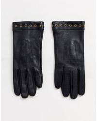 Barneys Originals Barney's Originals Real Leather Gloves With Eyelet Detailing - Black