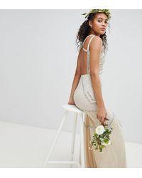 Amelia Rose Vestido largo con espalda cruzada y adornos en toda la prenda - Rosa