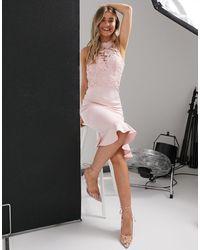 Chi Chi London Бежевое Платье Миди С Кружевной Отделкой -розовый Цвет
