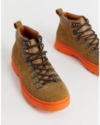 ASOS - Hiker Boots In Tan Suede With Contrast Chunky Sole - Lyst