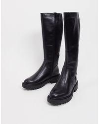New Look Черные Байкерские Ботинки С Голенищами До Колен На Толстой Подошве -черный