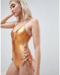 Pieces - Metallic Swimsuit With Laced Sides - Lyst