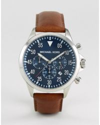 0271baa9c1cf Michael Kors Mk8536 Gage Chronograph Leather Watch In Brown in Brown ...