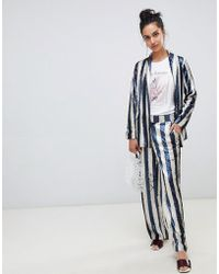 Lost Ink - Straight Leg Trousers In Sequin Stripe Two-piece - Lyst