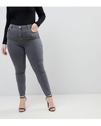 ASOS Asos Design Curve Ridley High Waisted Skinny Jeans - Gray