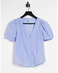 Monki Светло-синяя Блузка С Пышными Рукавами -многоцветный - Синий