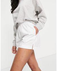ASOS Cotton Poplin Boxer Short - White