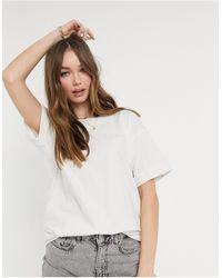 ASOS Camiseta color hueso holgada con mangas remangadas - Multicolor
