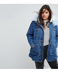 Simply Be Denim Parka With Faux Fur Collar And Inner - Blue