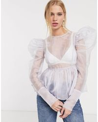 UNIQUE21 Unique 21 Sheer Organza Top With Puff Sleeves And Peplum Hem-purple