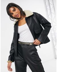 Mango Faux Leather Aviator Jacket With Borg Collar - Black