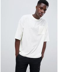 ASOS - Oversized T-shirt With Half Sleeve And Pocket In Towelling - Lyst