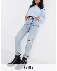 New Look Ripped Mom Jean - Blue