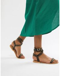 ASOS - Design Fion Leather Studded Flat Sandals - Lyst