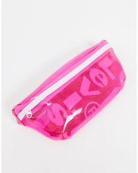 Levi's Riñonera rosa con diseño transparente