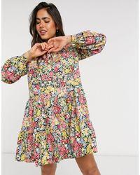 Warehouse Ярусное Платье С Разноцветными Цветочным Принтом Sophia-многоцветный