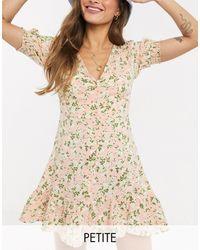 Miss Selfridge - Vestito da giorno rosa con bottoni - Lyst
