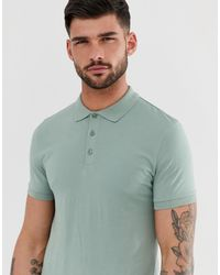 ASOS – es Muskel-Polohemd aus Jersey - Grün