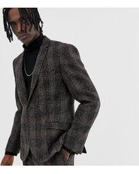 Heart & Dagger Slim Suit Jacket In Brown Harris Tweed