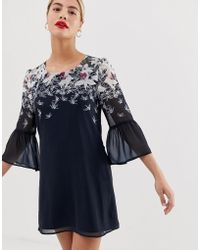 Yumi' - Shift Dress With Trumpet Sleeve Detail In Butterfly Print - Lyst