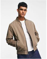 Calvin Klein Lightweight Bomber Jacket With Embroidered Chest Logo - Brown