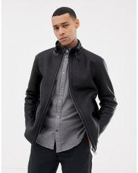 Esprit - Shearling Lined Faux Leather Biker Jacket In Black - Lyst