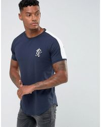 Gym King - Muscle T-shirt In Navy With Contrast Sleeves - Lyst