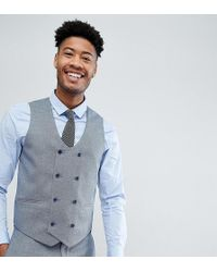 ASOS Tall Wedding Skinny Suit Vest In Light Blue Micro Texture
